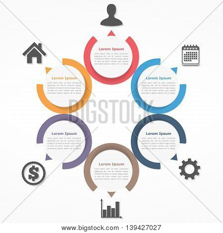 Circle diagram with six elements steps or options, flowchart or workflow diagram template, vector eps10 illustration