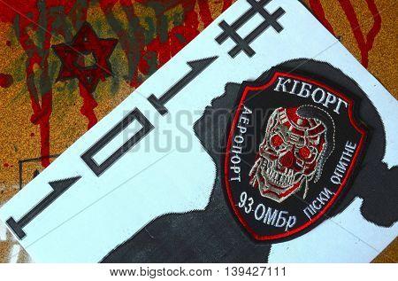 ILLUSTRATIVE EDITORIAL.Chevron of Ukrainian army.Ukraine kill 101 kids of Donbass.Civil War in Ukraine.July 13 ,2016 in Kiev, Ukraine