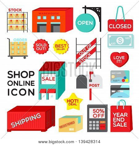 SHOP ONLINE ICON Colourful flat graphic for shopping online, they are easy to use as graphic or icon for your website, banner or promotion page.