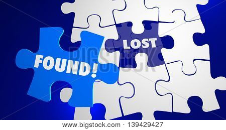 Lost and Found Puzzle Piece Locate Misplaced 3d Illustration