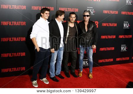 NEW YORK-JULY 11: Director Brad Furman (2nd R), actor Mickey Rourke (R) and guests attend 'The Infiltrator' New York premiere at AMC Loews Lincoln Square 13 Theater on July 11, 2016 in New York City.