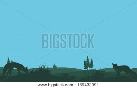 Fox in fields silhouettes design vector art illustration