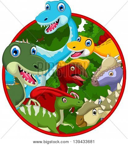 collection of cute dinosaur cartoon in frame