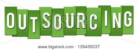 Outsourcing text written over green stripes background.