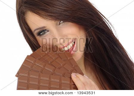 Chocolate girl. Sexy girl with a large block of chocolate