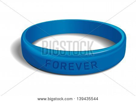 Blue plastic wristband with the inscription - FOREVER. Friendship band isolated on white background. Realistic vector illustration for International Friendship Day
