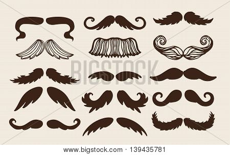 Black silhouette mustache. Mustache brown hair and man mustache hipster set. Mustache retro curly black silhouette collection beard mustache. Mustache barber silhouette hairstyle