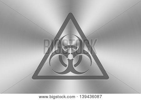 biohazard icon inlay on chrome aluminium texture. 3d illustration.
