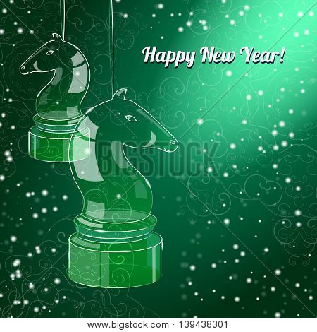 New Year Card with glossy horses on green background