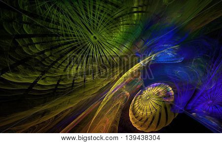 the underwater world of fractals. Yellow jellyfish on green (blue) background - the underwater world of fractals