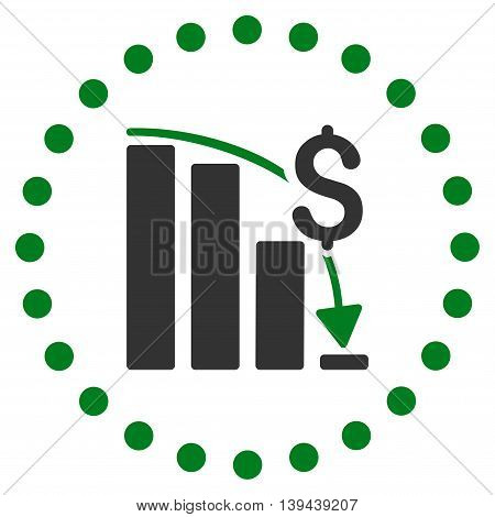 Financial Crisis vector icon. Style is bicolor flat circled symbol, green and gray colors, rounded angles, white background.