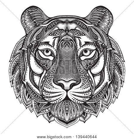 Hand drawn graphic ornate tiger with ethnic floral doodle pattern.Vector illustration for coloring book, tattoo, print on t-shirt, bag. Isolated on a white background.