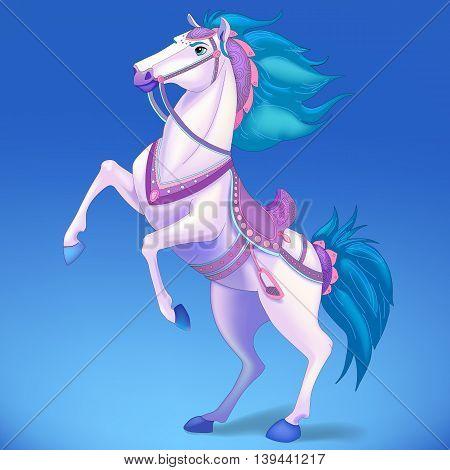 White horse on blue background, symbol of New Year 2014