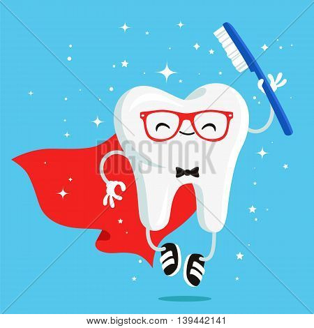 Happy healthy tooth in red cloak and a toothbrush. Vector illustration on a blue background. Concept of children's dentistry. Excellent dental card. Cute character. Caries prevention.