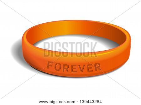 Orange plastic wristband with the inscription - FOREVER. Friendship band isolated on white background. Realistic vector illustration for International Friendship Day