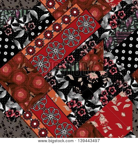 Seamless patchwork design floral pattern with red roses and flowers print