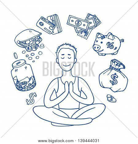 Financial yoga. Businessman meditating on money. Man sitting on lotus position. Enlightenment and meditation. Achieving wealth. dollar symbol