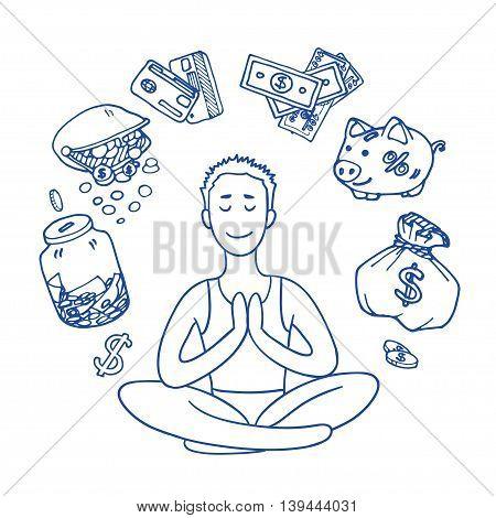 Financial yoga. Businessman meditating on money. Man sitting on lotus position. Enlightenment and meditation. Achieving wealth. dollar symbol