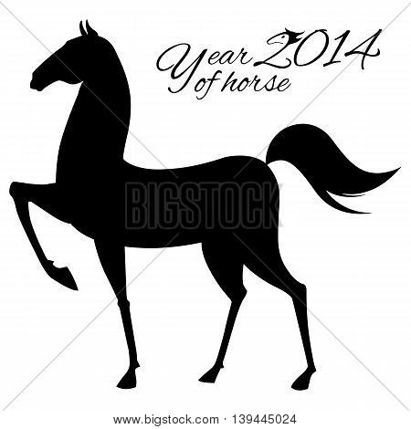 Horse silhouette isolated on whit background. Vector illustration.
