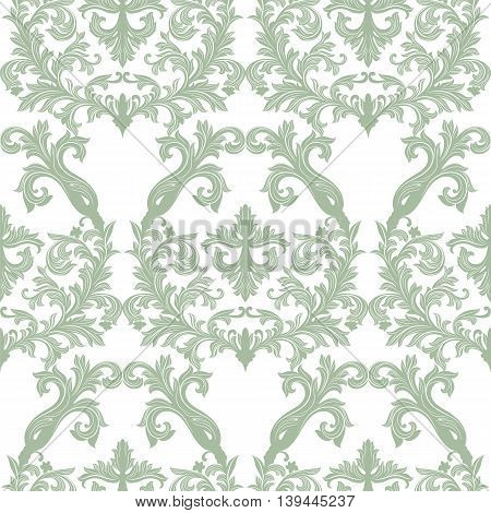 Vector Baroque Vintage floral Damask pattern. Luxury Classic ornament Royal Victorian texture for textile fabric. Lint green color