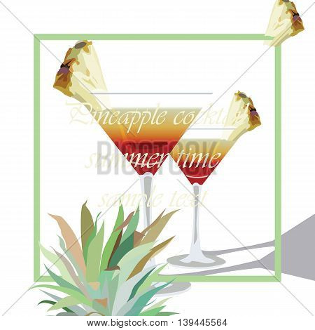 Two Cocktail Glasses Vector. Alcohol Cosmopolitan Cocktail decorated with Pineapple in martini Cocktail Glass. Vector Watercolor Tropical Cocktails Liqueur