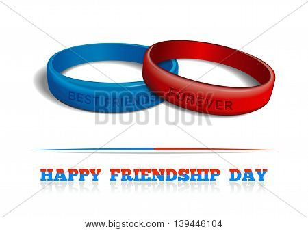 Blue and red plastic wristband with the inscription - BEST FRIENDS FOREVER. Friendship bands isolated on white background. Realistic vector illustration for International Friendship Day