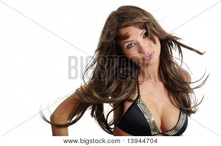sexy model wearing black bikini on white isolated background