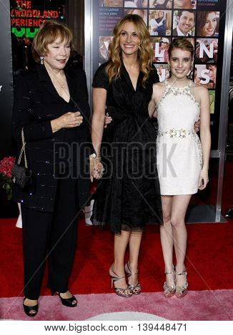 Shirley MacLaine, Julia Roberts and Emma Roberts at the Los Angeles premiere of 'Valentine's Day' held at the Grauman's Chinese Theater in Hollywood, USA on February 8, 2010.