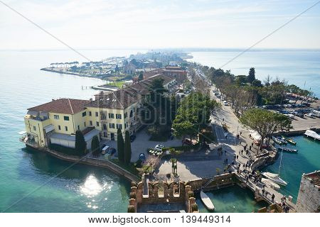 Sirmione Italy - February 21 2016: Landscape of Sirminone. Sirmione is the peninsula that divides the lower part of Lake Garda and It is one of the famous vacation places in the northern Italy.