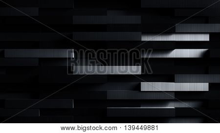Very Dark Futuristic Metal Background - 3D Illustration