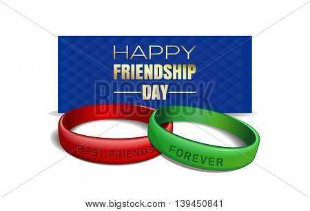 International Friendship Day design. Red and green wristbands with text Best Friends Forever on the background of a blue greeting card. Vector illustration