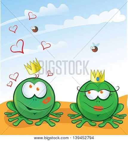 couple frog in love on sky  background