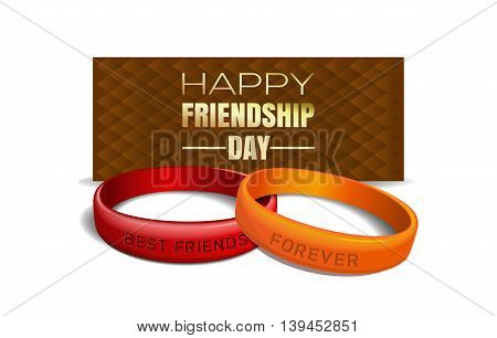 International Friendship Day design. Red and yellow wristbands with text