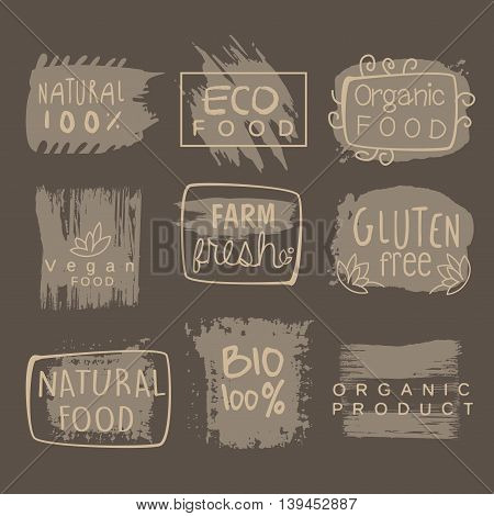Eco Glute Free Bio Food Grey Set Of Product Logo Design. Cool Flat Vector Design Template On White Background