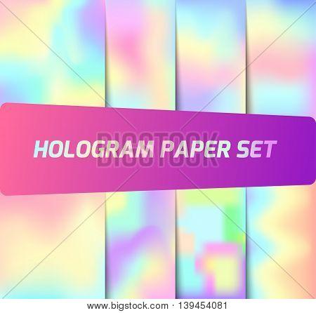 Hologram paper set. Colorful background or filling for shapes.