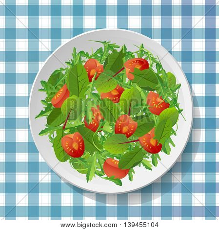 Vegetable salad with fresh tasty tomatoes, chard, mangold, spinach on plate in bowl on checkered white and blue background.Top view close-up colour vector illustration.