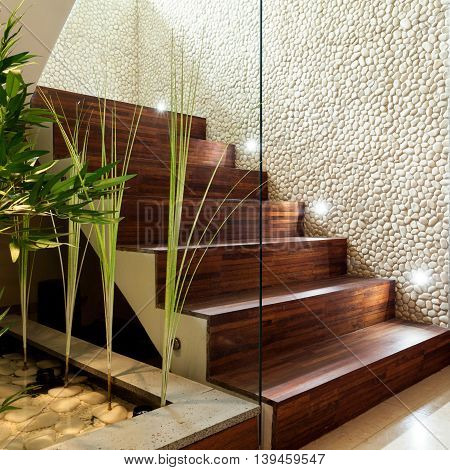 Illuminated Wooden Staircase