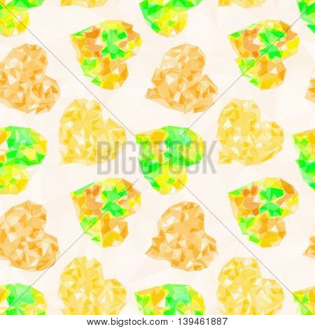 Valentine Holiday Background with Color Hearts, Low Poly Abstract Pattern, Yellow Colorful Polygonal Background. Vector