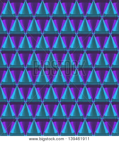 3D Crystal Cone Pattern Pink Blue