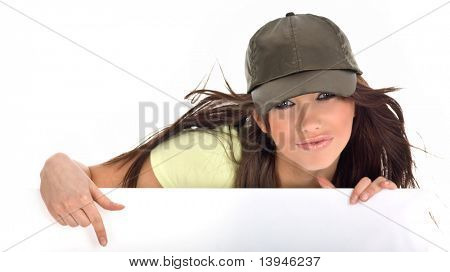 beautiful sexy girl holding a blank billboard.