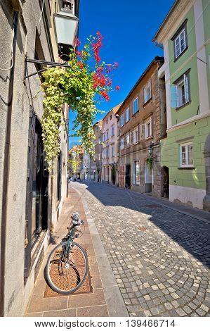 Romantic old street of Ljubljana capital of Slovenia