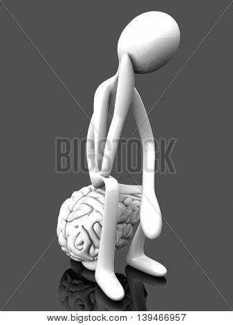 A cartoon figure con a huge brain. 3D rendered illustration.