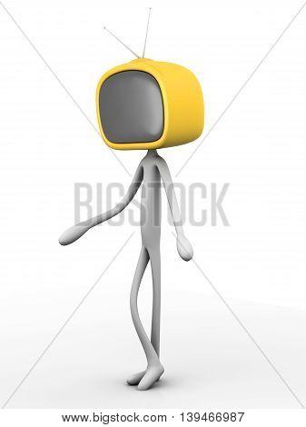 TV Head. A 3D rendered cartoon illustration.