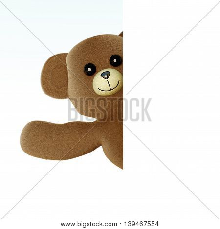 A greeting Teddy bear. 3d rendered Illusttration.