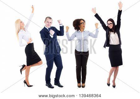 happy business people celebrating something isolated on white background
