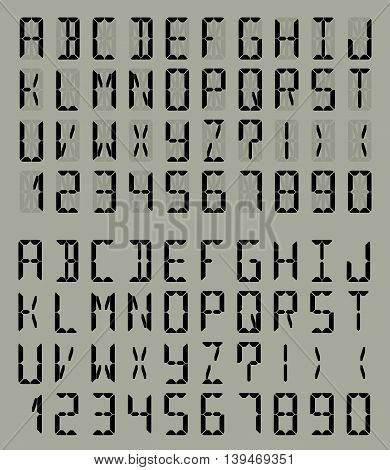 Digital Liquid Crystal Display Font Gray Backgraund. Vector set