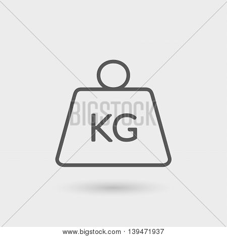 kg weight thin line icon isolated with shadow