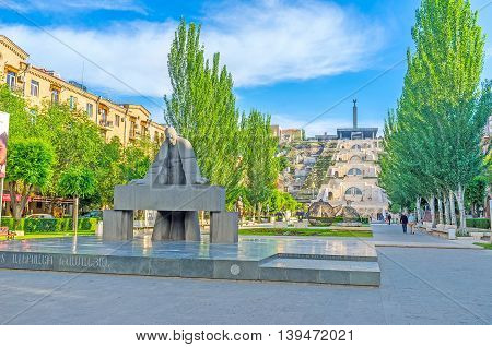 YEREVAN ARMENIA - MAY 29 2016: The monument to the famous Armenian architect A Tamanyan who created the first general plan of the modern city of Yerevan on May 29 in Yerevan.