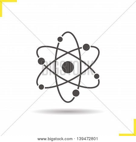 Atom structure icon. Negative space. Drop shadow atomic silhouette symbol. Physics. Vector isolated illustration