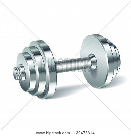 Metal realistic dumbbell isolated on white background. Realistic vector illustration.